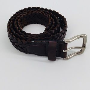 "Brown Braided Leather Belt 52"" Total Length"